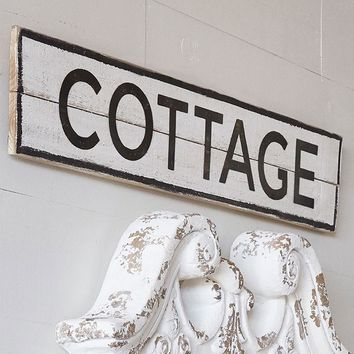 Cottage -- Distressed Wood and Metal Sign - 39-1/2-in