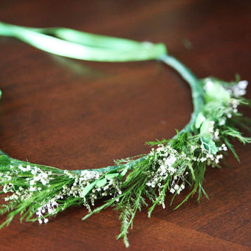 Hair Garland, Crown. Preserved Real Flowers & Ferns.