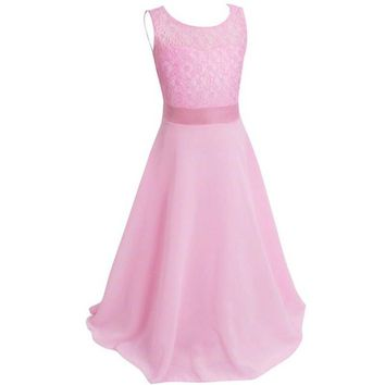 Kids Girls Flower Lace Dress Floral Dress Ball Gown Prom Formal Maxi Vestidos For Wedding LWE56