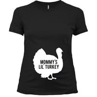 Thanksgiving Pregnancy Announcement Maternity T Shirt Expecting Mother Pregnant Clothes Mom To Be New Mommy's Lil Turkey Ladies Tee - SA850