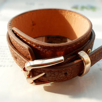 Winter Christmas Gift, metal buckle, natural Brown Leather Cuff or for wristband watch, vegetable tanned leather C-78
