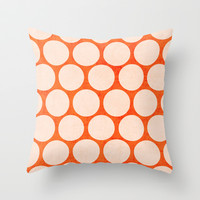 orange and white polka dots Throw Pillow by her art