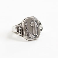 Vintage Sterling Silver St. John Dated 1969 Ring - Retro Size 5 3/4 Saint John with Eagle 1960s Religious Catholic Saint Jewelry