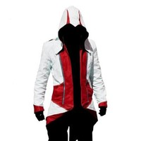 Rulercosplay Assassin's Creed 3 Connor Kenway Jacket Hoodie Cosplay (3 Colors) (S, Red&White)