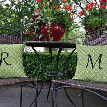 Monogram Pillow Covers Embroidered Quatrefoil Design Fabric ASSORTED Fabric Colors Avail Envelope Pillow Covers Designs by Sugarbear