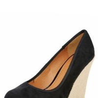 Worthy100 Espadrille Round Toe Wedge Pumps BLACK