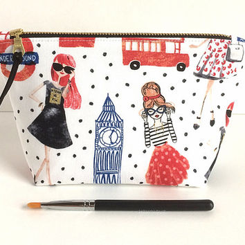 Small Makeup Bag, Makeup Brush Holder, Cosmetic Bag, Polka Dot Pouch
