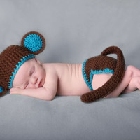 Blue Trimmed Monkey Baby Diaper Cover and Baby Hat Baby Shower With Ears and Tail