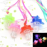 Halloween LED Baby Care Light Up Pacifier Rave Party Glow Glowing Whistle Flashing Lanyard Blinking Party Supplies