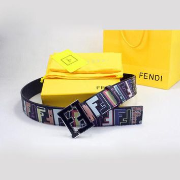 FENDI Woman Men Fashion Smooth Buckle Belt Leather Belt Black I