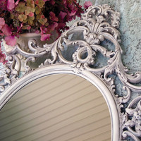 Vintage French Wall Mirror Antique White Large Oval Burwood Shabby Chic Hollywood Regency