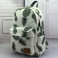 Pineapple Printed Backpack  School Bookbag Womens Mens Bag + Free Gift Retro World Map Watch