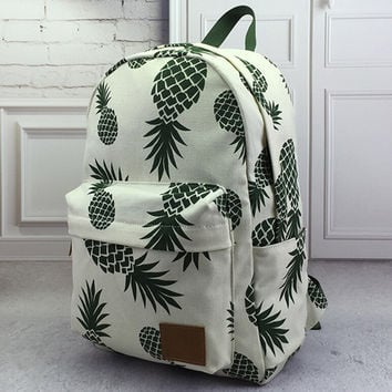 Pineapple Printed Backpack School Bookbag Womens Mens Bag +Free Gift Tatto Choker Necklace