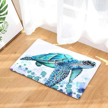 2017 Modern Colorful Sea turtle Painting Carpets Anti-Slip Floor Mat Outdoor Rugs Animal Front Door Mats Non-slip Doormats