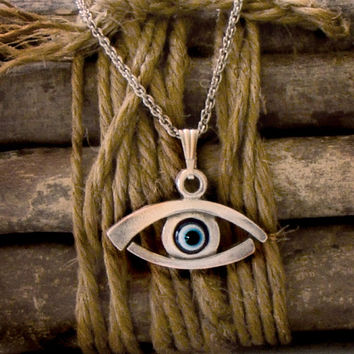 Evil Eye Necklace Blue Greek Mati Hamsa Silver Tone Pendant Charm Chain Necklace