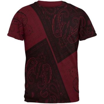 DCCKIS3 Bandana Paisley All Over Maroon Adult T-Shirt