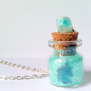 Unicorn Bottle Necklace, Aqua Necklace, Glitter Necklace, Fantasy Necklace, Aqua Unicorn Jewelry, Unicorn Glass Bottle, Unicorn Charm