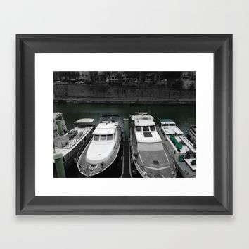 Paris port black and white with color Framed Art Print by Mr Splash