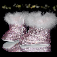 CHARLIE CO. Kids! Light Pink Crystal & Fur Booties Winter boots 6-12months new born baby girl shoes