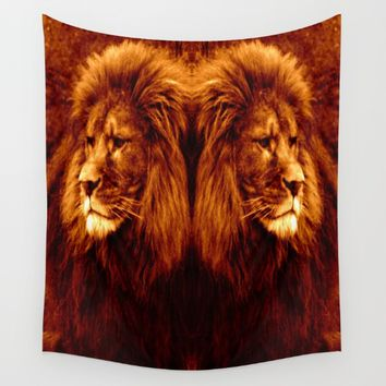 lion Golden Wall Tapestry by 2sweet4words Designs