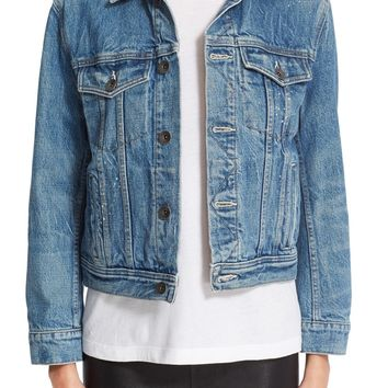 Helmut Lang Flannel Lined Denim Jacket | Nordstrom