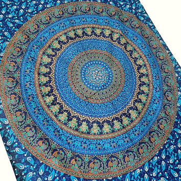 BLUE elephant mandala cotton hippie wall hanging tapestry boho bohemian bedding throw ethnic elephant mandala wall decor home decorative art