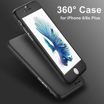 360 Degree Full Body Front Back Hard Phone Case for fundas iphone 8 6S 7 Plus Matte Finish Hybrid Cover Accessories+Temper Glass