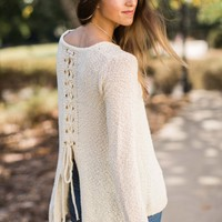 Wind Me Up Beige Sweater