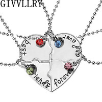 "4pcs/set ""best friend forever and ever"" BFF Friend Pendant Necklace Set 4 Pieces Heart Shape Hand Stamped Friendship Jewelry"