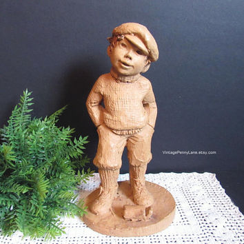"Vintage Lee Bortin Original Sculpture, Handmade Clay Sculpture, Boy Figure, ""Yesterday's Child"""