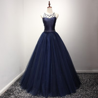 2017 Navy Blue Ball Gown Evening Dresses with Beads Women's Pageant Gowns Open Back Handwork Pageant Dress vestido de noche