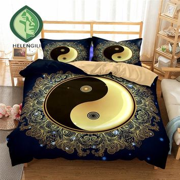 HELENGILI 3D Bedding Set Yin Yang Print Duvet cover set lifelike bedclothes with pillowcase bed set home Textiles #2-10