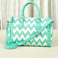 Womens Chevron Satchel Handbag Purse Aqua & White Summer Accessory Gift
