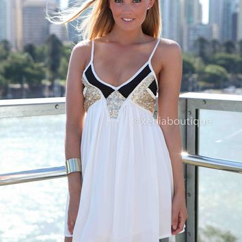 LINCOLN 2.0 DRESS  , DRESSES, TOPS, BOTTOMS, JACKETS & JUMPERS, ACCESSORIES, SALE, PRE ORDER, NEW ARRIVALS, PLAYSUIT, COLOUR,,White,Sequin Australia, Queensland, Brisbane