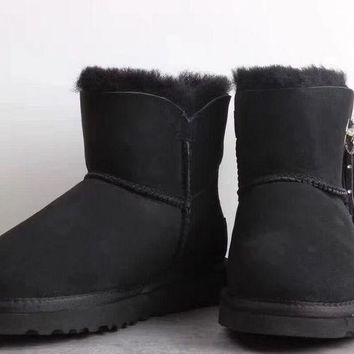 LFMON UGG 1019627 Fringed Pendant Women Men Fashion Casual Wool Winter Snow Boots Black