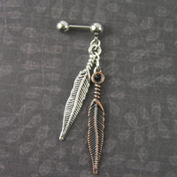 """Two Feathers Silver & Copper Feather 16g 1/4"""" 6mm Boho Cartilage Earring Helix Stud Barbell Cartilage Piercing Tribal Dangle Earring"""