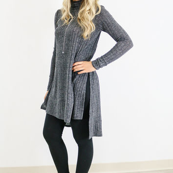 Long Story Gray Ribbed Turtleneck Tunic