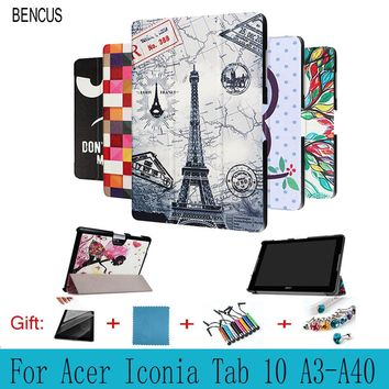 BENCUS  Acer Iconia Tab 10 A3-A40 A3 A40 10.1 inch Tablet Case Colorful Custer Ultra Slim PU Leather  Print Flip Protect Cover