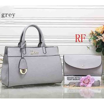Dior 2018 latest leather female trendy handbag shoulder bag (Two sets) F-RF-PJ Grey