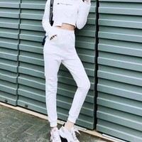 """""""Champion"""" Women Casual Fashion Letter Printing Hooded Long Sleeve Trousers  Set Two-Piece Sportswear"""