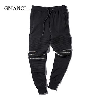 skinny street dance casual pants new fashion zipper Holes mens High Street hip hop joggers trousers biker cool sweatpants