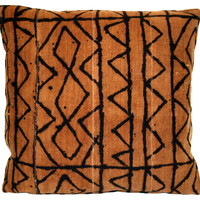 African Brown Mud Cloth       Pillow