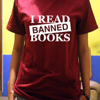 I Read Banned Books Shirt Logo Unisex T-Shirt Tee Size S,M,L,XL (I-1)