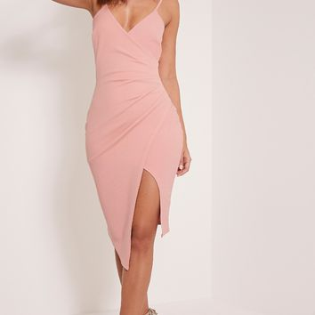 Lauriell Rose Wrap Front Crepe Midi Dress Pretty Little Thing UHCfdgdp