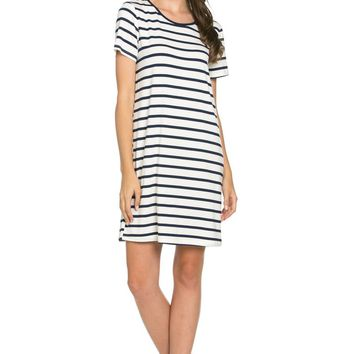 All About Stripes Dress Navy