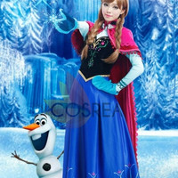 Disney Frozen Anna Winter Cosplay Costume With Free Shipping Worldwide