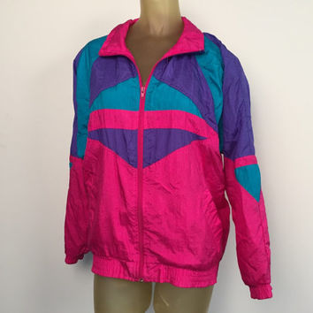 Pink Nylon Windbreaker, Vintage 80s 90s Jacket Teal Blue Hot Pink Purple Geometric High Collar Zip Coat Fully Lined Waterproof Windbreaker M