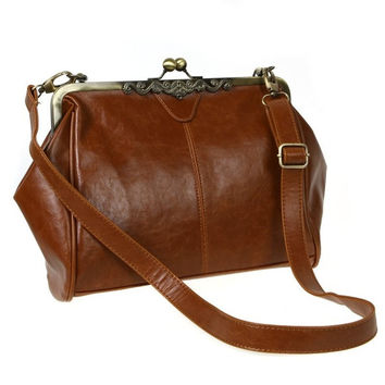 Retro Vintage Lady PU Leather Shoulder Messenger Handbag Satchel Tote Bag Crossbody H8963 (Color: Brown) = 1932715140
