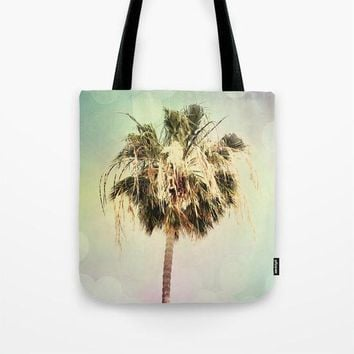 Art Tote Bag Palm Trees 3 fine art photography Summer Fashion Beach pastel pink mint green yellow Aqua Blue Modern California