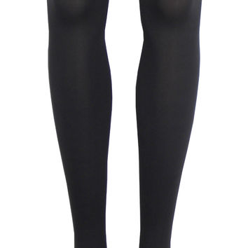 Solid Opaque Thigh High Socks in Graphite